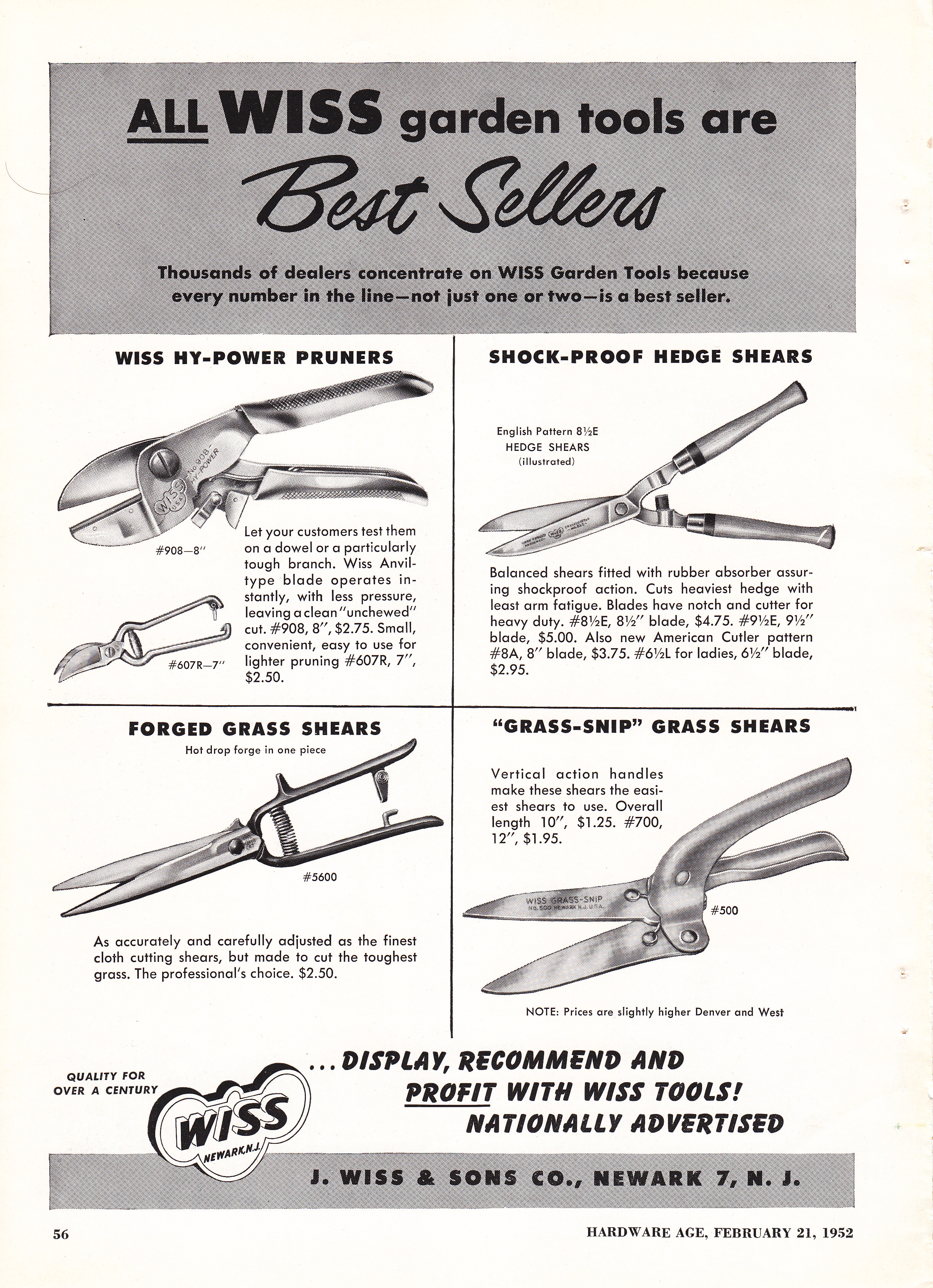 ... age all wiss garden tools 1952 feb 21 hardware age all wiss garden